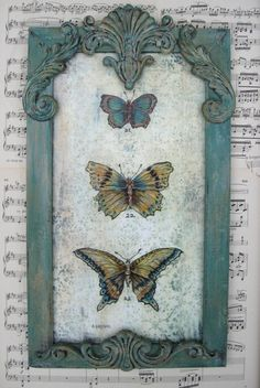 ❥ Vintage Butterfly Painting pinned with Bazaart