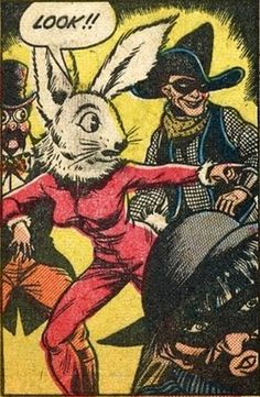 Look!! Woman in rabbit mask  @Brenda Haugaard Pulp Art, Funny Comics, Comics Vintage, Old Comics, Comics Girls, Funny Vintage, Roy Lichtenstein, Web Comic, Comic Sans