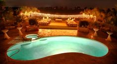 This is a breathtaking reception at the Garden Chateau in Central Florida!  The lighting and view are amazing!  #wedding #market lights #reception