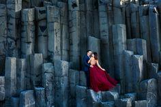 Red Dress Engagement Blue Suit Reynesfjara Vik Iceland Black Sand Beach Zsuzsi Pal Photography