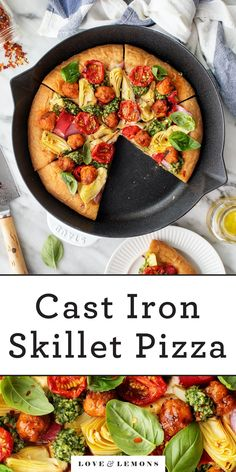 Try this cast iron pizza recipe once, and you'll never make homemade pizza any other way! Thanks to the hot skillet, the crust becomes golden brown and nicely crisp. Delicious with any toppings! | Love and Lemons #pizza #pizzarecipe #dinnerideas #healthyrecipes Pizza Recipes, Veggie Recipes, Vegetarian Recipes, Dinner Recipes, Fall Recipes, Lemon Recipes, Lunch Recipes, Cast Iron Pizza Recipe, Cast Iron Skillet Pizza