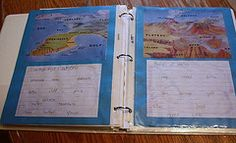 Land forms and bodies of water notebook page made by Jacob #notebooking #landforms