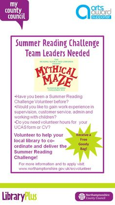 Summer Reading Challenge Team Leaders required.