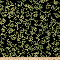 Noel Metallic Scroll Black/Green from @fabricdotcom  Designed by Greta Lynn for Kanvas in association with Benartex, this cotton print is perfect for quilting, apparel and home decor accents. Colors include black and green with gold metallic accents.