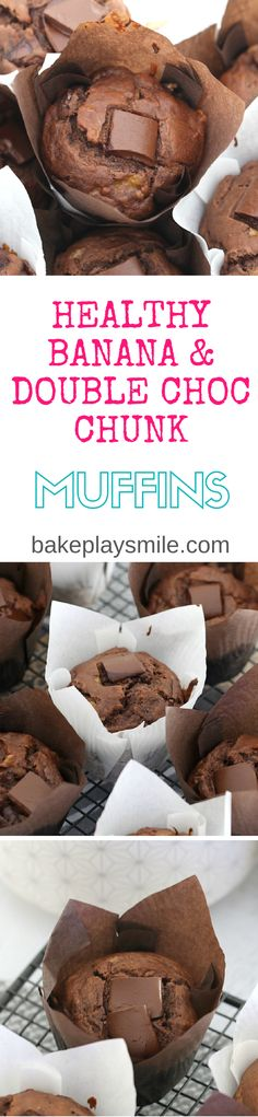 Healthy Banana & Double Chocolate Chunk Muffins that take just 5 minutes to prepare, are moist and totally delicious! Perfect for a breakfast-on-the-go or a lunchbox treat. #healthy #banana #chocola