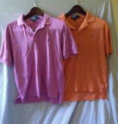 Polo by Ralph Lauren Pink & Orange Polo Golf Rugby Shirt Size Medium Lot of Two #PoloRalphLaurenMen'sShirtSizeMedium