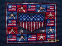 Title: 4th of July Sampler   Designer: Lois Winston   Fabric: 14 ct Navy Aida   Stitch Count: 59 x 47   Started: 11.30.2013   Finished: ...