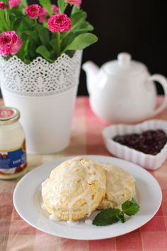Almond Scones with Raspberry Jam and Clotted Cream, from Willow Bird ...