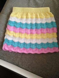 How to Knit Colorful Child Skirt with Openwork. 5 years old. - How to Knit Colorful Child Skirt with Openwork. 5 years old. Crochet Baby, Knit Crochet, Baby Overall, Knit Baby Dress, Baby Pullover, Skirts For Kids, Crochet Skirts, Clothing Tags, Kids Clothing