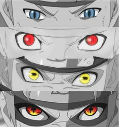 The eyes of Naruto Normal/fox vision (they never really explain that one), Kyuubi, Sage, Sage/Kyuubi chakra mode