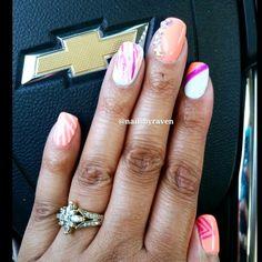 Gel manicure with designs and Swarovski crystals