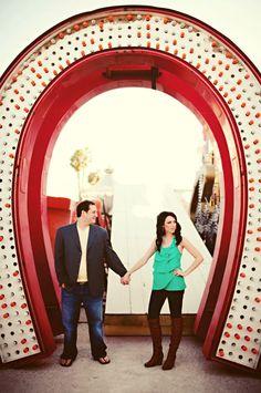 Las Vegas Engagement photo taken in the Neon Boneyard in Las Vegas!  A must see while you visit!  #SightNSound