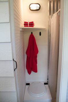 Tiny home washroom. I like this, actually, but I'm not too fond of the composting toilet.