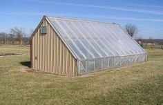 University of MO, Columbia Grow food all year long in a passive solar greenhouse.in the middle of Missouri on a hill with harsh winter winds. The link provides materials lists and performance info. Greenhouse Farming, Build A Greenhouse, Heated Greenhouse, Greenhouse Ideas, Outdoor Projects, Garden Projects, Garden Tips, Patio, Backyard