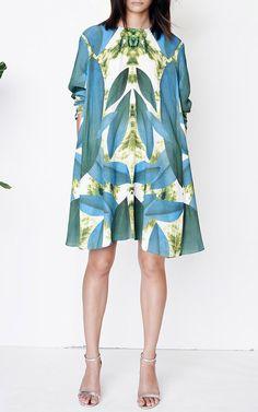 Leaf Print Long Sleeve Tent Dress by Kaelen (ss15)