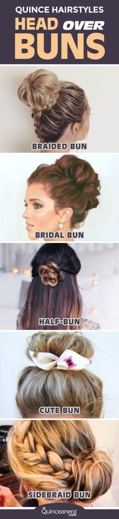 Quinceanera hairstyles: Head over buns                                                                                                                                                                                 More