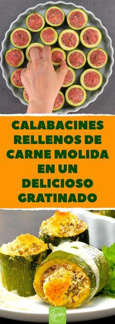 Calabacines rellenos de carne molida en un delicioso gratinado #calabacinesrellenos #calabacin #horno #recetas #verduras #calabacines #queso #carnemolida #carnepicada Pinterest Recipes, Creative Food, Zucchini, Menu, Potatoes, Cooking Recipes, Lunch, Snacks, Healthy