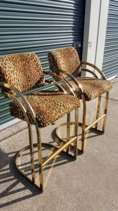2-Vintage-Cantilever-Bar-Stools-Cheetah-Gold-Brass-Milo-Baughman-Hollywood-Disco