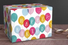 Birthday Balloons Personalized Wrapping Paper via Minted seen on Paper Crave