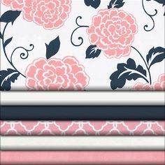 Coral Pink and Navy Floral Crib Sheet | Carousel Designs