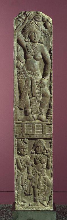 Railing Pillar: Goddess and an Amorous Couple,c. 100 B.C. India: Madhya Pradesh, Bharhut, -125--75 Sandstone 58 x 11 x 8-1/4 in. (147.3 x 27.9 x 21 cm) The Norton Simon Foundation F.1972.11.1.S