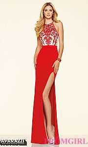 Buy Long Embroidered Open Back Jersey Mori Lee Prom Dress at PromGirl