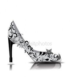 Zapatos de tacón alto decoración con flores High Heels, Shoes Heels, Cleats, Illustration, Fashion, Slippers, Illustrations, Football Boots, Moda