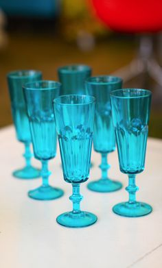 bright blue barware
