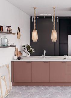 Farmhouse Style Kitchen, Modern Farmhouse Kitchens, Black Kitchens, Rustic Kitchen, Cool Kitchens, Pink Kitchens, Gold Kitchen, Pink Kitchen Walls, Kitchen Lamps