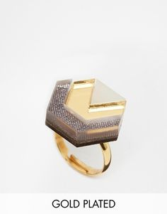 Wolf & Moon Hex Ring