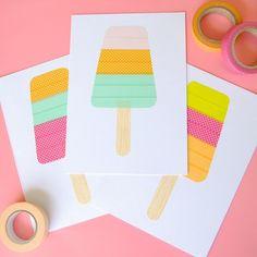 Washi tape popsicle cards - Washi Tape Crafts