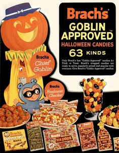 """Brach's candies 1962 VINTAGE ADVERTISEMENTS FOR HALLOWEEN"""" I love the illustration and the graphic of retro advertisement, always make me smile! So i selected for you 40 vintage ads for Halloween. Halloween Retro, Vintage Halloween Images, Halloween Candy, Holidays Halloween, Happy Halloween, Halloween Decorations, Halloween Ideas, Halloween Stuff, Costume Halloween"""