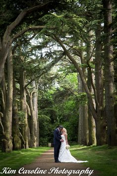 Wedding Photography at Clumber Park, Nottinghamshire. Bride and Groom under archway of trees.