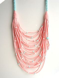 T-shirt yarn necklace baby pink necklace by CreationsByAlina