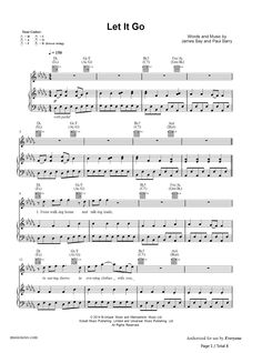 Let It Go by James Bay Piano Sheet Music
