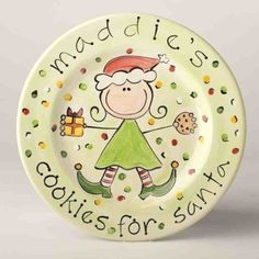 """Cookies for Santa"" Elf Plate. 9"" handcrafted plate, ready to be personalized and waiting for Santa's arrival. A most special gift for the children to enjoy while they are young, and later as a holiday serving plate. Order by Dec 9th to ensure Christmas delivery."
