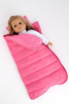 Slumber Party - Accessories for 18 inch Doll - Pink Sleeping Bag with Pillow