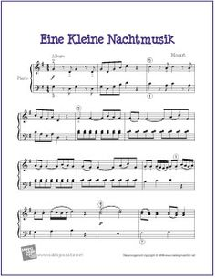 Eine Kleine Nachtmusik (Mozart) | Sheet Music for Easy Piano - http://makingmusicfun.net/htm/f_printit_free_printable_sheet_music/eine-kleine-nachtmusik-piano-solo.htm