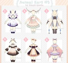 [CLOSED] Animal Ears Outfit Adopts Auction by Black-Quose