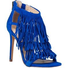 STEVE MADDEN Fringly Triple Tier Fringe Sandal Blue ($90) ❤ liked on Polyvore featuring shoes, sandals, blue suede, high heel stilettos, ankle tie sandals, suede fringe sandals, blue high heel sandals and blue suede shoes