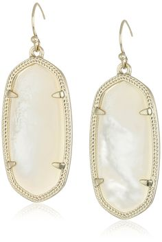 Kendra Scott Signature Elle Earrings in Gold Plated and Ivory Mother-of-Pearl. Drop earrings featuring oval centers in four-prong settings framed in textured gold plating. Fishhook backing. Imported.