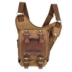 d73223c756 Retro Men Shoulder Bag Canvas Leather Irregular Cross-body Messenger Bag  Military Travel Sling Bag Khaki Black camel Online Shopping