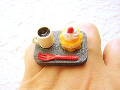 Coffee and Cake Miniature Food Ring By SouZouCreations