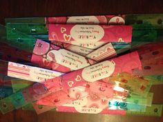 Cute valentine gifts to students from their teacher!  Buy rulers at the beginning of the year when there are oodles for cheap!!