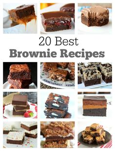 A collection of the 20 Best Brownie Recipes out there:  you'll find recipes for things like Fudgy Caramel Brownies, Chocolate Raspberry Brownies, Chocolate Chip Cookie Dough Brownies, Truffle Brownies, S'Mores Brownies and much more!