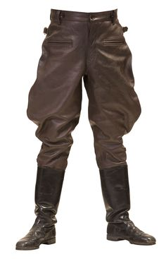 WW2 GERMAN LEATHER BREECHES BROWN LEATHER