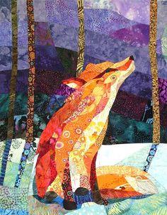 Fabric Art Quilts | Orange Fox, Purple Night - quilt/fabric art | quilting