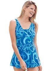 Plus Size Swimsuit, swimdress style, with ruching, swirl print image