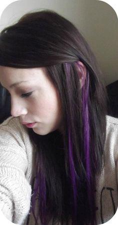 Purple Streaks in My Hair - I&K; Clip in Highlight i want purple streaks Purple Hair Streaks, Purple Brown Hair, Hair Color Purple, Light Brown Hair, Pink Hair, Blue Streak In Hair, Colored Streaks In Hair, Subtle Purple Hair, Dark Brown