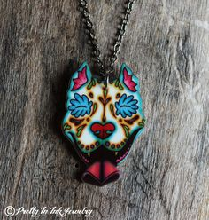 Day of the Dead Slobbering Pit Bull Sugar Skull Necklace - 5 dollars from Every piece sold will go to VRC. $19.95, via Etsy.